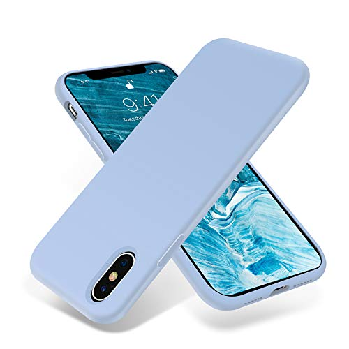 for iPhone X Case, OTOFLY [Silky and Soft Touch Series] Premium Soft Silicone Rubber Full-Body Protective Bumper Case Compatible with Apple iPhone X(ONLY) - Light Blue