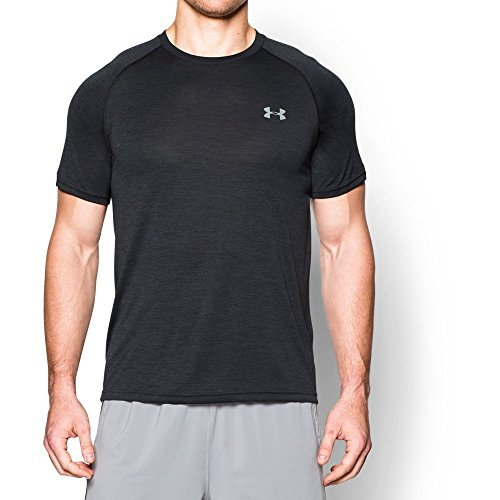 Under Armour Men's Tech Short Sleeve T-Shirt, Black/Steel, Medium Fast Black T-shirt