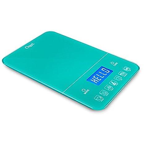 Báscula digital de cocina Ozeri Touch III 10 kg con contador de calorías, en vidrio templado azul: Amazon.es: Hogar