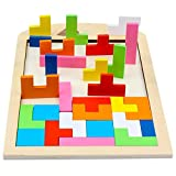 The Children Toys Educational Wooden Blocks Wooden Classic Blocks Puzzle friendGG Intelligence Development Educational Activity Toy for Kid Baby Children Boys Girls Learning Activity Toys (Multicolor, 18x29x1cm)