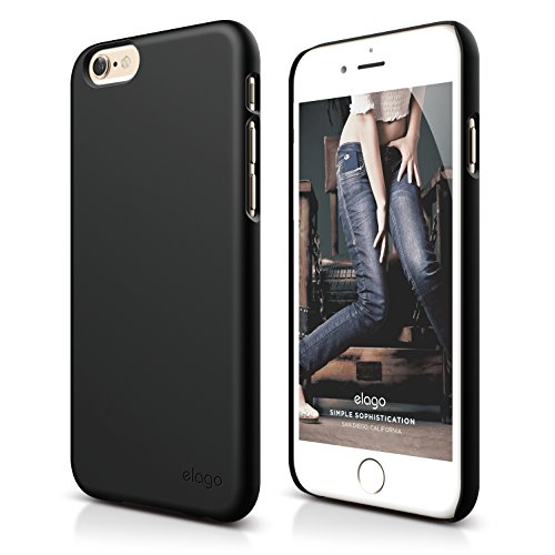 iPhone 6S Plus Case, elago [Slim Fit 2][Soft Feel Black] - [Light][Minimalistic][True Fit] - for iPhone 6 Plus/6S Plus