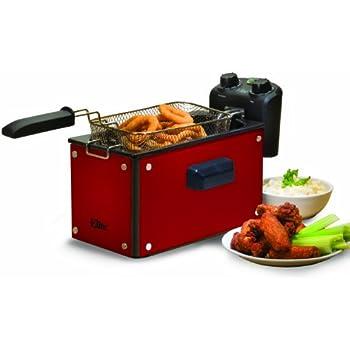 Elite Platinum EDF-3500GR Maxi-Matic 3.5 Quart Deep Fryer, Red