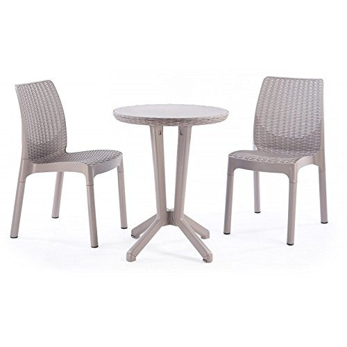 KETER Garden Set Mod. Resin Rattan Effect Bistro Set of 3 White (Bistro Furniture Garden Uk Set)