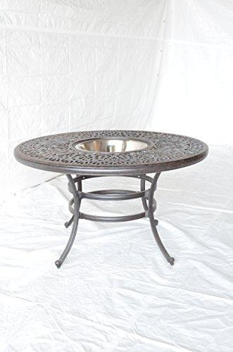 "Elizabeth Outdoor Patio 52"" Round Bar Table Dark Bronze Cast Aluminum"