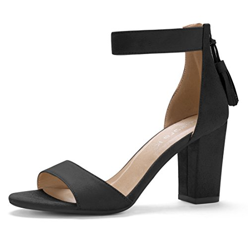 - Allegra K Women's Chunky High Heel Tassel Ankle Strap Black Sandals - 6 M US