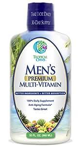 Men's Premium Liquid Multivitamin w/ CoQ10, PABA + 100 additional Vitamins, Minerals, & Amino Acids to support muscle, heart & brain functions* Max Absorption! - 32 Serv.