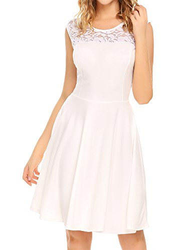 Line Dress Women's Pleated Party Lace Uniboutique Sleeveless White A Cocktail C8dwgqxn7