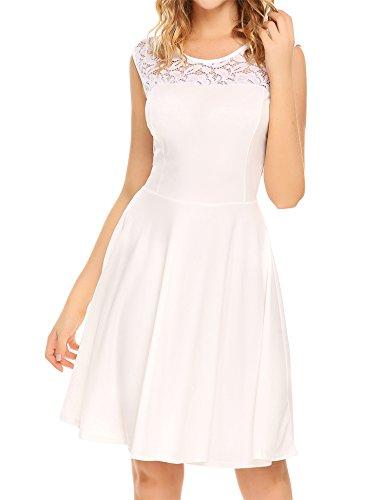Party Uniboutique Pleated Sleeveless Dress Women's Lace Line White A Cocktail vaRqvw