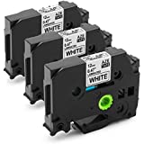 Unistar Compatible TZ TZe TZe-231 TZ231 Tape for Brother P-Touch PT-1290 PT D210 D200, 1/2 Inch Standard Laminated Labels, 26.2 Feet Each, Black on White,3-Pack