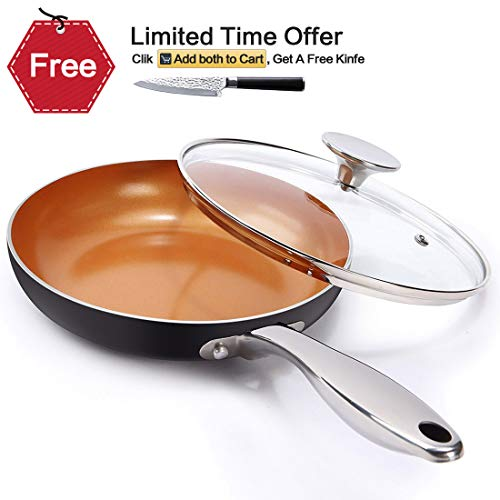 (MICHELANGELO 8 Inch Frying Pan with Lid, Ultra Nonstick Small Frying Pan with Ceramic Titanium Coating, Copper Frying Pan With Lid, Nonstick 8 Inch Skillet with Lid, Induction Compatible - Copper)