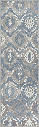 Well Woven Allegro Blue Microfiber High-Low Pile Vintage Abstract Erased 2x7 (2'3