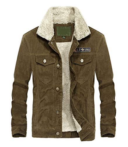 Lavnis Men's Corduroy Trucker Jacket Casual Stand Collar Button Down Fleece Denim Jacket Khaki S