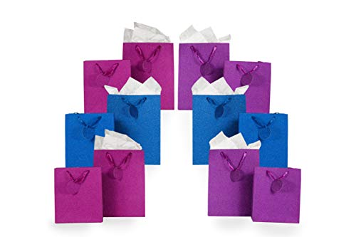 Metallic Glitter Gift Bag Assortment 2 Sizes 12 Bags Featuring Satin Ribbons, Gift Tags, Tissue Paper (Pink, Purple, Blue)