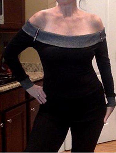 et Slim Pulls Pullover Jumpers Tee Printemps Hauts Manches Automne Noir Shirt Bateau Tops Blouse Gavemenget Femmes T Col Shirts Patchwork Longues Oq5S1xwUF