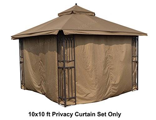 ALISUN Universal 10' x 10' Gazebo Curtain Set for 4 Sides - Brown