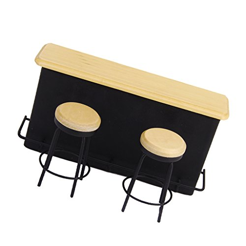 Bar Furniture Table + 2 Chairs 1/12 Dollhouse Miniature
