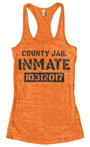 Threadrock Women's County Jail Inmate 2017 Halloween Burnout Racerback Tank Top S Orange