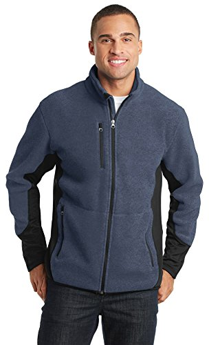 Port Authority R-Tek Pro Fleece Full-Zip Jacket, Navy Heather/ Black, X-Large