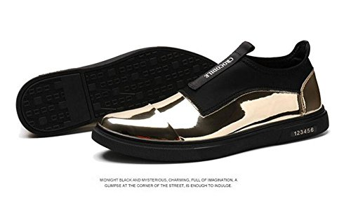Männer Lace-Up Flats Skateboard Schuhe Leder Boutique Casual Schuhe Trend Sets von Fuß Schuhe , gold , 44