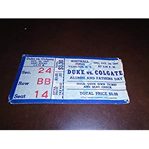 1937 DUKE AT COLGATE COLLEGE FOOTBALL TICKET STUB