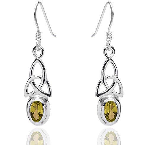 DTPsilver - Boucles d'oreilles Femme en Argent Fin 925 Trinité Celtique avec Peridot