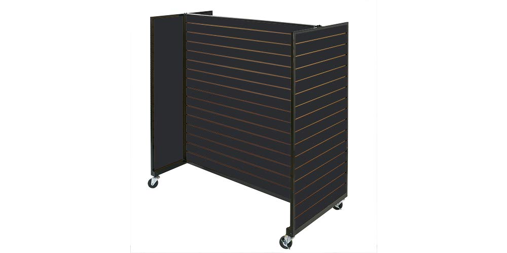 Black Metal Framed Rolling Slatwall Gondolas Without Shelves 50W x 53 H Overall