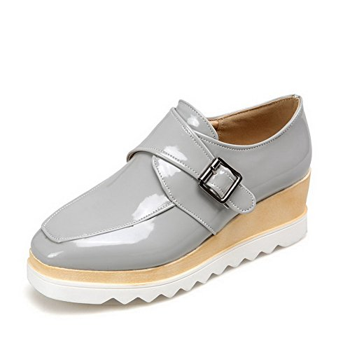 Buckle Patent Gray WeiPoot Pumps Shoes Closed Solid Toe Heels Square Kitten Women's Leather 5wIIqHp