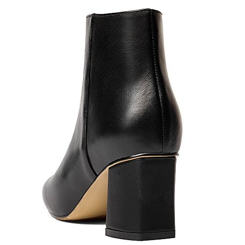 Dressy Chunky Handmade Elegant Comfort Women's Seven Ankle Booties Toe Heel Nine Square Black Cow Leather High zHqpwYT