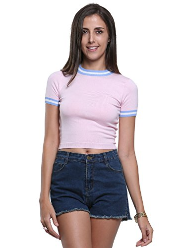 Joeoy Women's Pink Short Sleeve Stripe Stretchy Ribbed Knit Crop Top-M