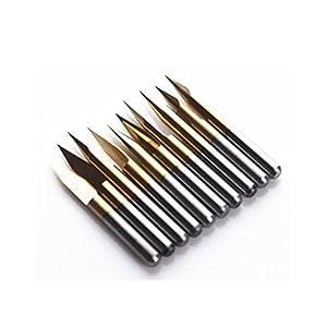 Autek 10x Titanium Coated Carbide PCB Engraving CNC Bit Router Tool 30 Degree 0.1mm Tip(J3.3001Tix10) from Autek