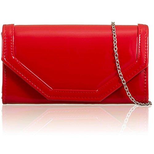 Xardi London Mujeres embrague Patente brillo vinilo piel Bailes señoras de boda bolsas Red