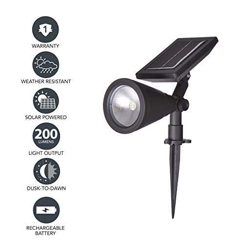 (Sterno Home GL40460 Outdoor Solar LED Black Light Kit, Ground or Wall Mountable, Landscape Waterproof Security Lighting with Adjustable Spotlight for Patio, Porch, Deck, Garden, Pool - 2 Pack)
