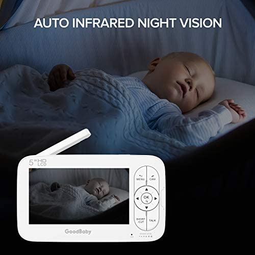 """41kOTolQXbL. AC - GOODBABY Real 720P 5"""" HD Display Video Baby Monitor With Camera And Audio, Remote Pan&Tilt&Zoom, Two-Way Talk,Temperature Monitor, Night Vision, Lullaby Player, 960ft Range"""