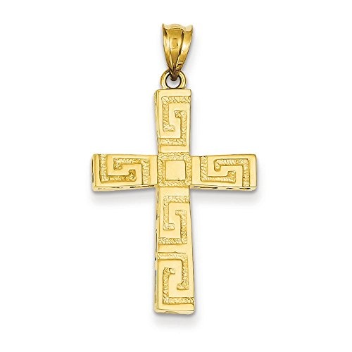 14K Yellow Gold Greek Key Design Latin Cross Charm Pendant