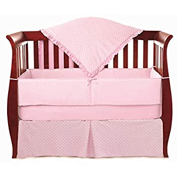 Image of American Baby Company Heavenly Soft Minky Dot 4-Piece Crib Bedding Set, Pink, for Girls Baby
