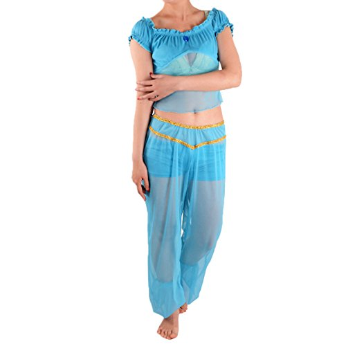 Blue Arabian Princess Costumes (Quesera Princess Jasmine Costume Adults Aladdin Cosplay Halloween Belly Dance Outfit, Blue, TagsizeL=USsizeS)