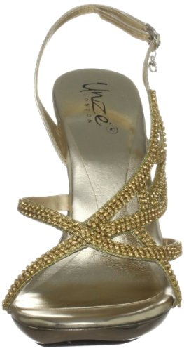 Unze Evening Sandals Womens Flip-flops L18846W Gold qrzK5BQj