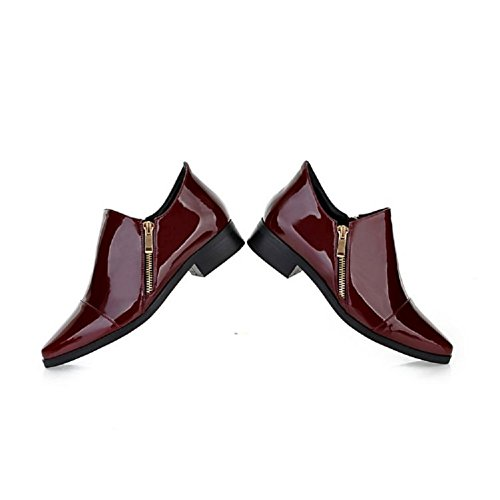 Charm Foot Vintage Mujeres Low Heel Botines Vino Rojo