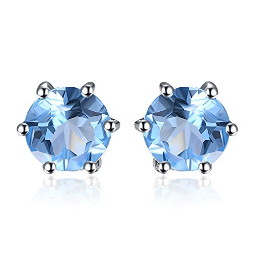 JewelryPalace Round 1.2ct Natural Blue Topaz Stud Earrings Solid 925 Sterling Silver