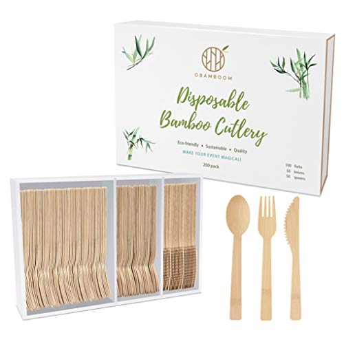OBAMBOOM Eco-friendly Disposable Bamboo Cutlery - 200pc (100 Forks, 50 Knives, 50 Spoons) & Plastic-Free Packaging. All-Natural, Biodegradable, Compostable Cutlery/ Flatware / Silverware / Utensil Set
