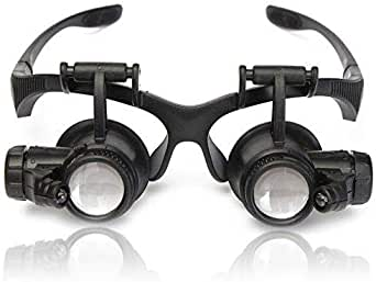 مرآة تصليح النظارات بمكبر الصوت المحدث 10X 15X 20X 25X مزودة بمصباح ليد