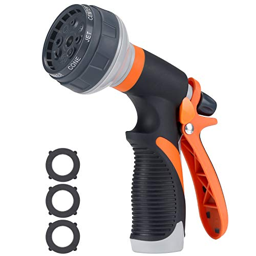 Tombert Upgraded Version Garden Hose Nozzle, 8 Patterns Heavy-Duty Spray Nozzle with 3 Washers, Thumb Control and Slip Resistant TPR Cover for Watering Plants, Washing Cars (Nozzle)