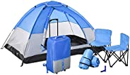 Outsunny 2 Kids Pop Up Camping Tents, Playhouse for Boys Girls with Chairs, Sleeping Bags, Flashlights, Trolle