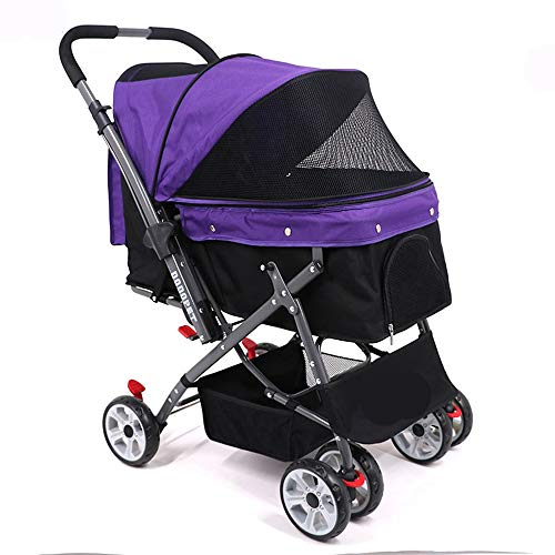 (PETSUPPLY Pet Four-Wheeled Cats Dogs Carts Shockproof Durable Stroller Adjustable Direction,One-Click Folding,Quick Installation(Red/Purple),B)