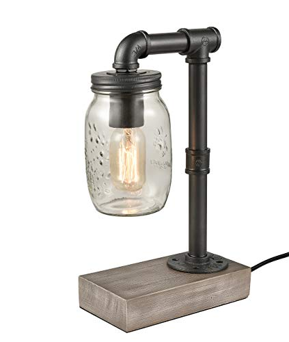 CLAXY Table Lamp Wooden Based with Mason Jar Shade Reading Bedroom Office Lamps