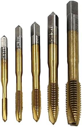 Gugutogo 5 Teile/satz HSS Handgewindebohrer M3 M4 M5 M6 M8 Gewindebohrer & Maschine Spiral Punkt Gerade Nuted Schraubengewinde Handwerkzeuge (farbe: messing)