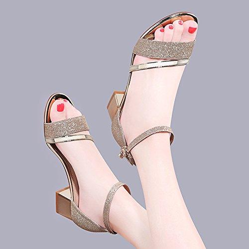 de talón Silver Chunky Sandals remache básica plata oro Parte noche mujer bomba ZHZNVX Glitter Gladiator Verano Zapatos Casual CgvCTx5