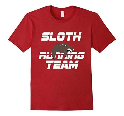 5k Runner (Mens Sloth Running Team Shirt Half Marathon 5K Funny Runner Gift Large Cranberry)