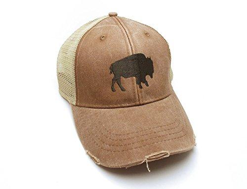 - Trucker Hat - Buffalo Silhouette - Men's Distressed Mesh Backed Hat