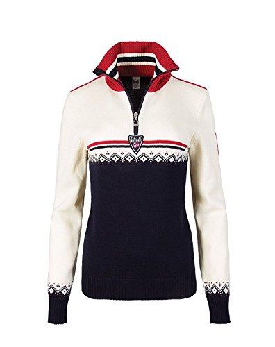 Dale of Norway Women's Lahti Feminine Sweater, Navy/Raspberry/Off White, Medium
